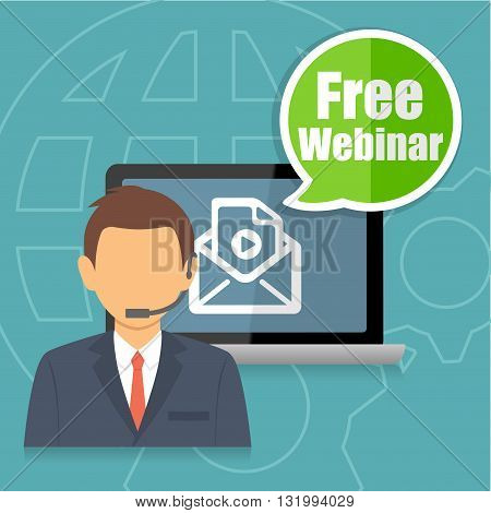 Free Webinar Training Online Education Concept Infographic