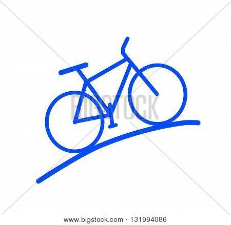 Blue bike silhouette - modern vector illustration.