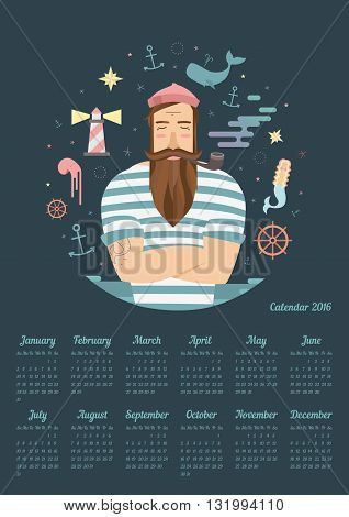 Children's Calendar for 2016. sailor tells tales about mermaids whales and sea. Week starts on Sunday