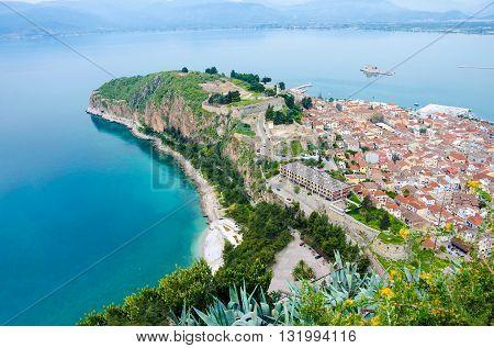 Aerial view of Nafplio city. Tourism travel location in ArgolisGreece