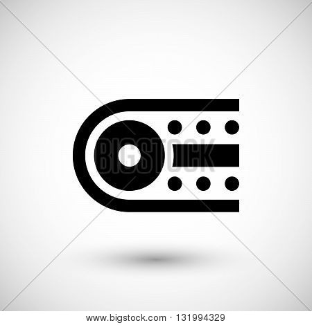 Industrial conveyor icon isolated on grey. Vector illustration