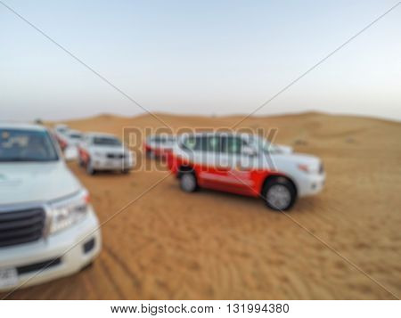 Abstract Blurry Background Of Safari Driving On The Desert