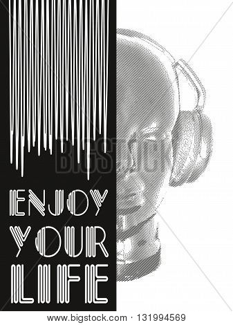 Cover for music concept. Abstract vector for man relaxing and listening music with headphones. Realistic art design of object with contour varying the width and shape. Artistic outline design. Vector