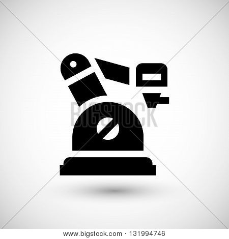Robotic arm icon isolated on grey. Vector illustration