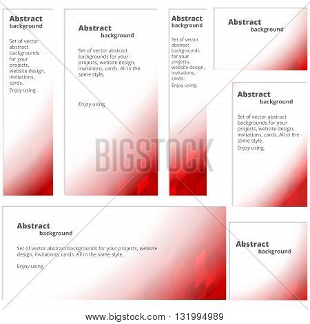 A set of banners in red colors. Abstract colorful background.