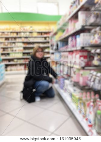 Blurred Abstract Background Inside Grocery Store/ Supermarket