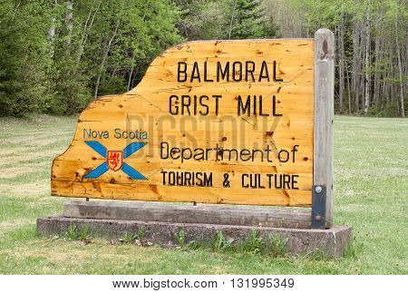 BALMORAL MILLS CANADA - MAY 26 2016: Balmoral Grist Mill sign. The Balmoral Grist Mill Museum is part of the provincial museum collection.