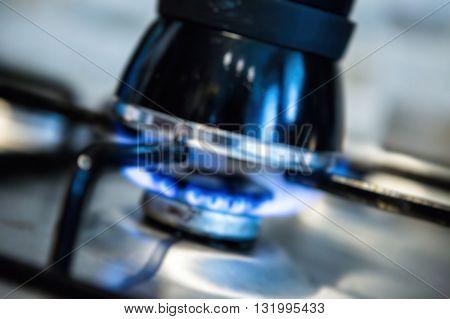 Blurry Background : Moka Pot Making Morning Coffee