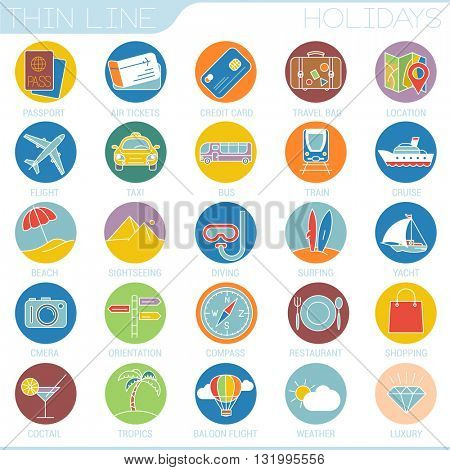 Travel and tourism flat colors vector icon set.
