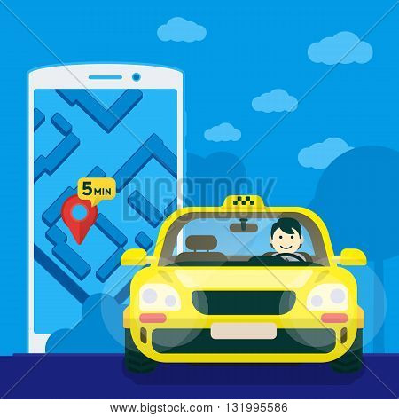 Flat yellow taxi with a driver traveling on the road. car front view. Flat mobile phone with a label on the map. Application for taxi online. Vector clipart graphics