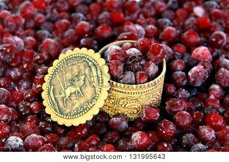PENZA RUSSIA - SEPTEMBER 11 2009: Frozen red cranberries in hoarfrost and russian souvenir tuesok of birch bark
