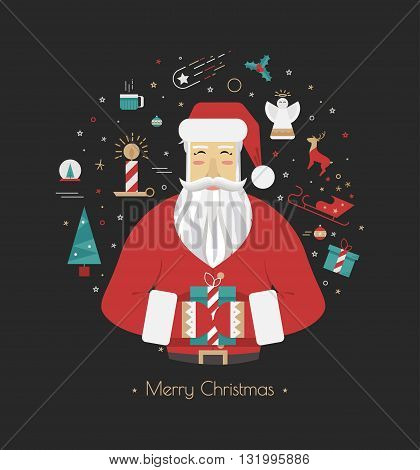 Stock Vector 2016 Santa Claus on a black background with Christmas elements. Illustrations in the style of flat. It can be used for a poster or greeting card.
