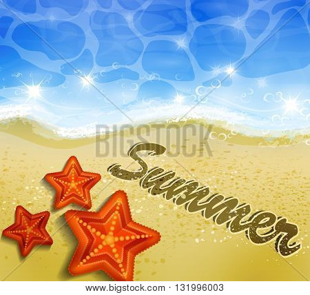 Beautiful beach top view with starfishes vector illustration and word on the sand