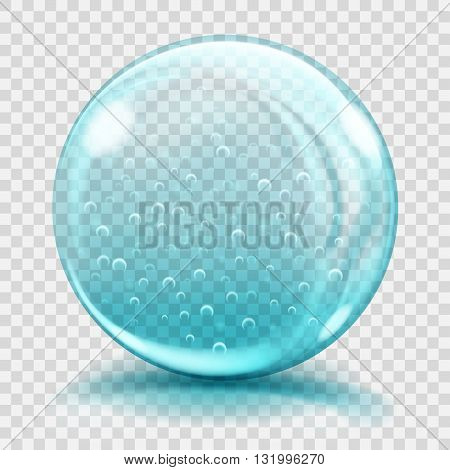 Big Light Blue Glass Sphere With Air Bubbles