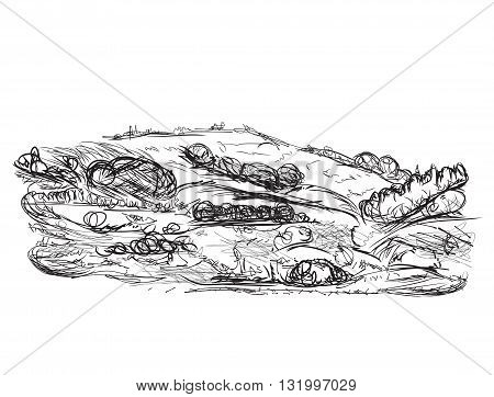 Landscape sketch drawing. Hand drawn cartoon nature