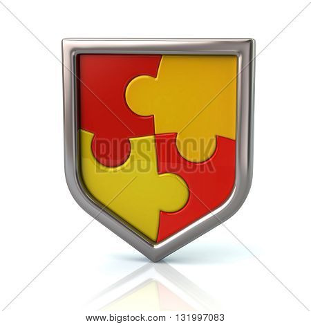3d illustration of  puzzle shield with red and yellow pieces isolated on white background