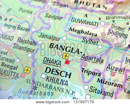 Map of India with focus on Bangladesh