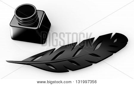 Feather And Inkwell On White Background 3d Illustration