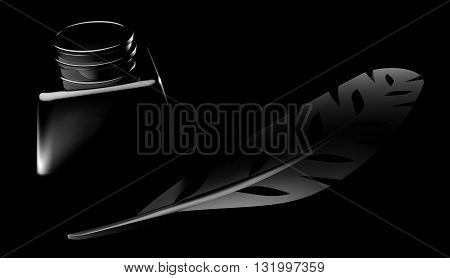 Feather And Inkwell On Black Background 3d Illustration