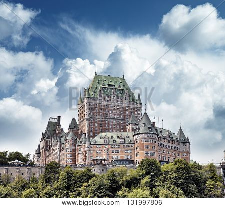 Quebec City, Canada - August 21: Chateau Frontenac Hotel On Augu