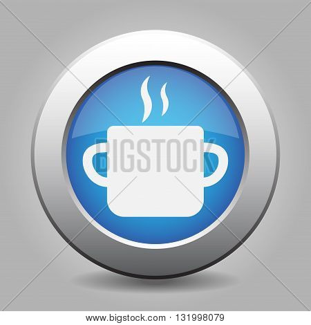 blue metal button - with white cooking pot and smoke