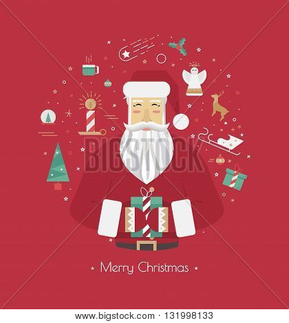 Illustrations for the New Year 2016 with Santa Claus at the red background with icons. Circle with Christmas elements Santa Claus mistletoe Christmas tree candles and sleds.