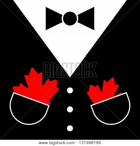black mens suit with bow tie white buttons and two maple leafs in pockets