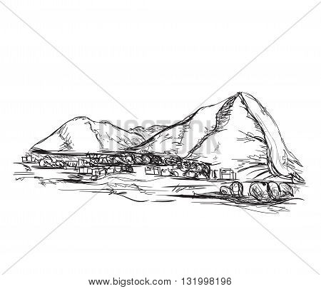 Graphite hand drawn mountains vector illustration sketch.