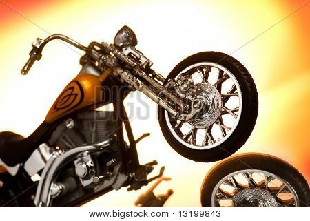 Motorcycle on abstract background