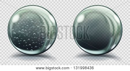 Big Gray Glass Spheres With Air Bubbles And Without