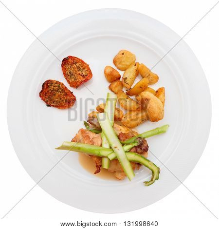 White meat and vegetables isolated on white background