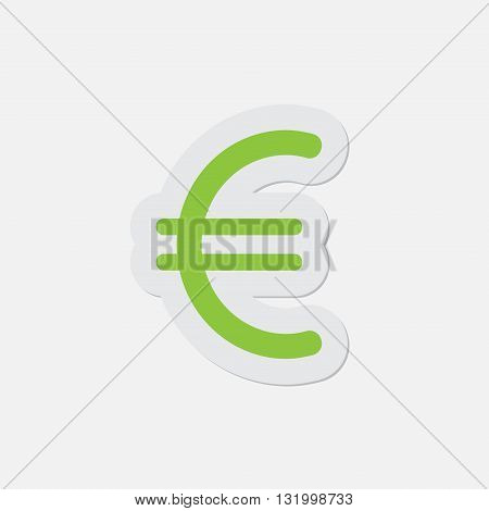 simple green icon with contour and shadow - euro currency symbol on a white background