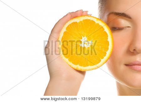 Beautiful girl with juicy orange