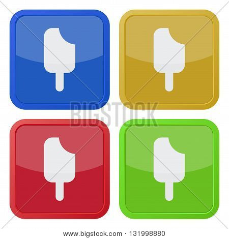set of four colored square icons with stick ice cream
