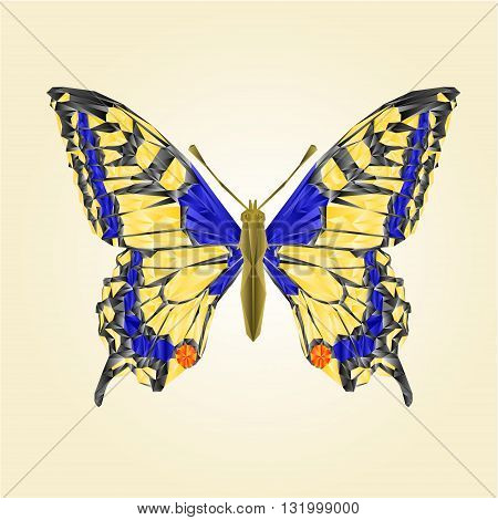 Butterfly swallowtail beautiful insect polygons vector illustration