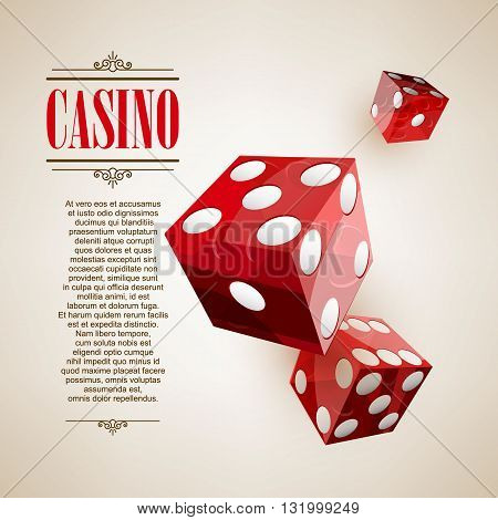 Casino logo poster background or flyer. Casino invitation or banner template with flying Dice . Game design. Playing casino games. Vector illustration.
