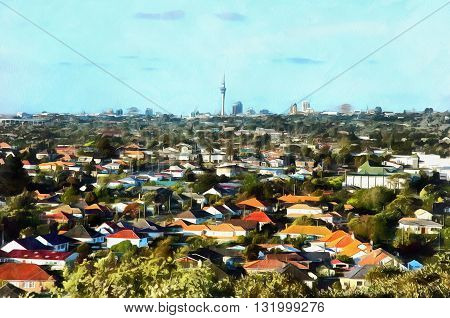 Digital painting of a View of a suburb with colourful houses against a background downtown city with skyscrapers