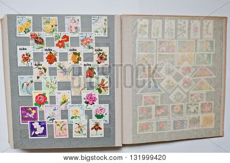 Uzhgorod, Ukraine - Circa April, 2016: Collection Of Postage Letter With Stamps In Album Printed  Fr