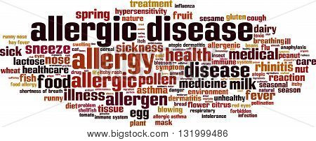 Allergic disease word cloud concept. Vector illustration