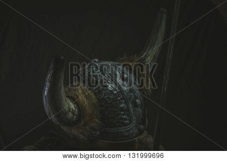 Scandinavian, Viking warrior with iron sword and helmet with horns
