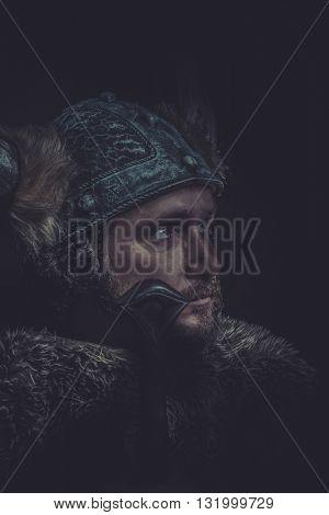 Scandinavian, Costume, Viking warrior with a huge sword and helmet with horns
