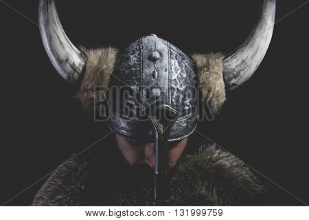Murderer, Viking warrior with iron sword and helmet with horns