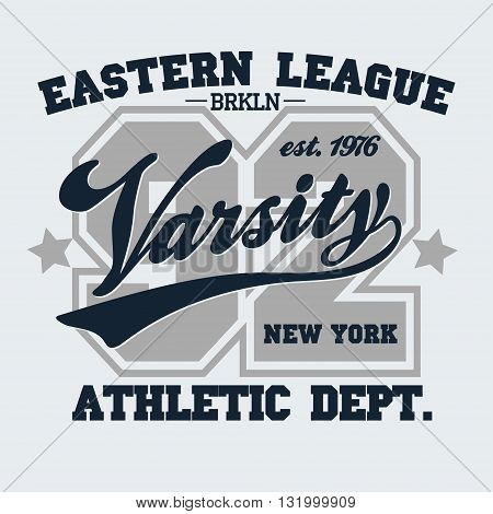 New York Brooklyn Sport wear typography emblem, t-shirt stamp graphics, vintage tee print, athletic apparel design fashion clothes. Vector