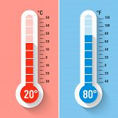 Celsius and Fahrenheit thermometers. Vector.  poster
