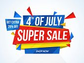 4th of July Super Sale, Super Sale Paper Tag, Paper Banner, Sale Background, Extra 25% Off, Creative poster