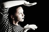stock photo of mimicry  - Portrait of a female mime in sailor - JPG