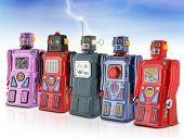 Colorful Gang Of Tin Toy Robots poster