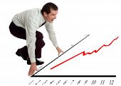 stock photo of line graph  - young business men ready for start concept - JPG