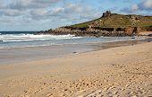 stock photo of st ives  - Porthmeor sandy beach in St - JPG