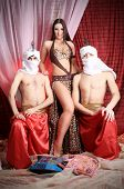 picture of concubine  - Shot of young people in oriental costumes - JPG